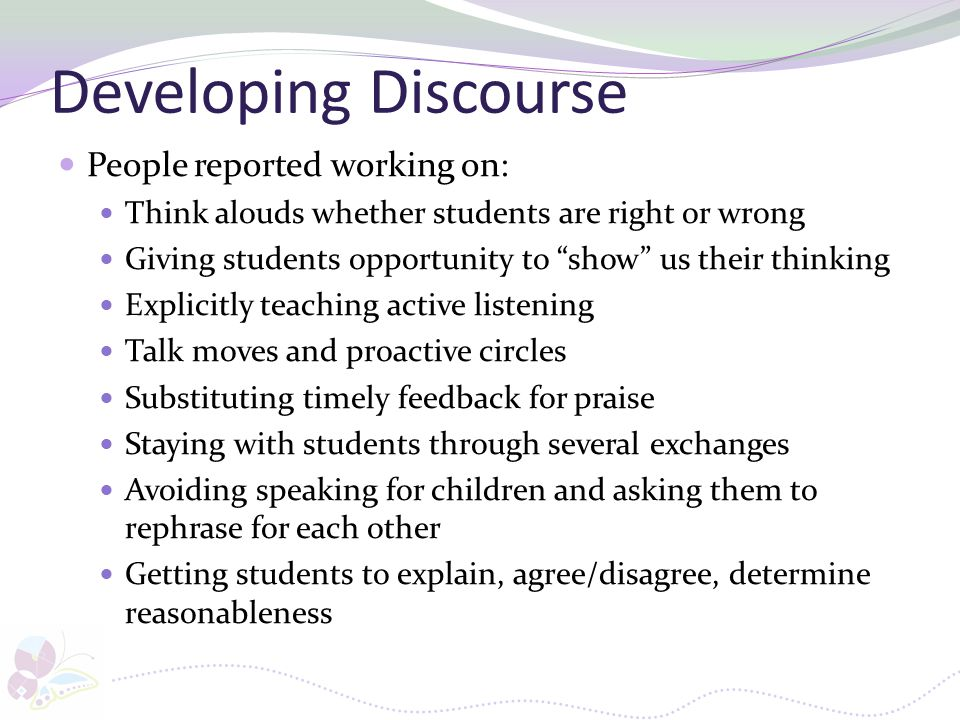 Developing Discourse People reported working on: