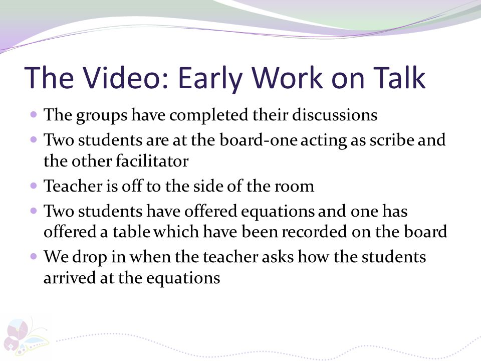 The Video: Early Work on Talk