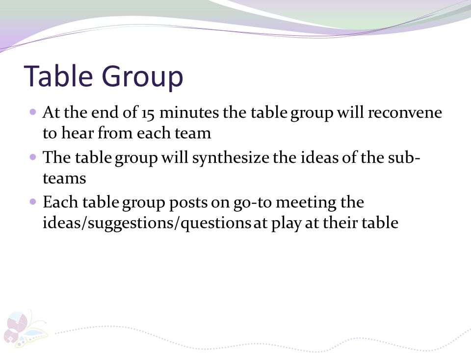 Table Group At the end of 15 minutes the table group will reconvene to hear from each team.