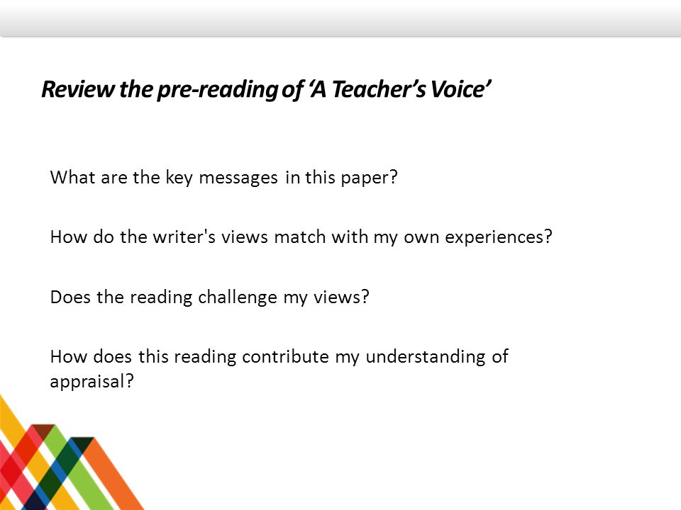 Review the pre-reading of 'A Teacher's Voice'