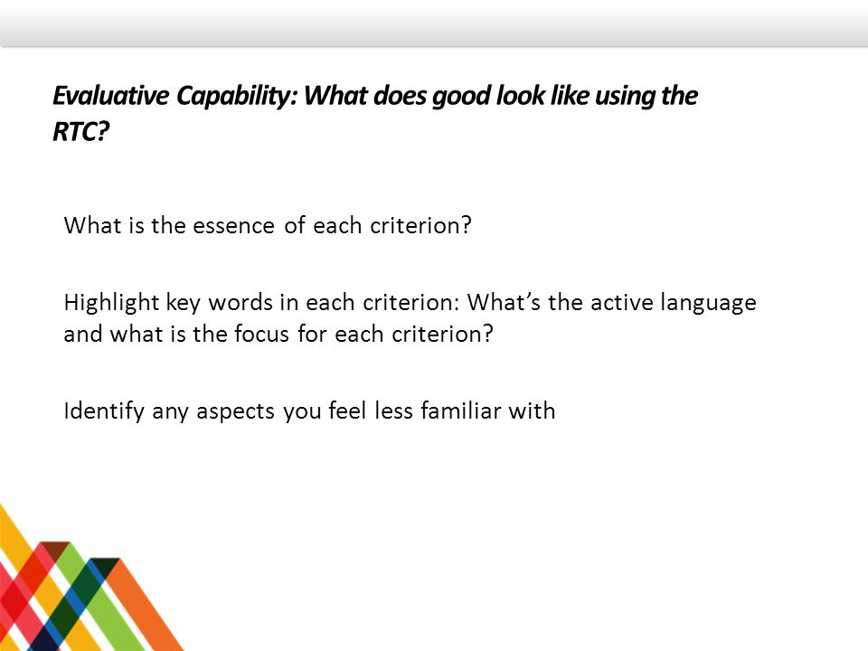 Evaluative Capability: What does good look like using the RTC