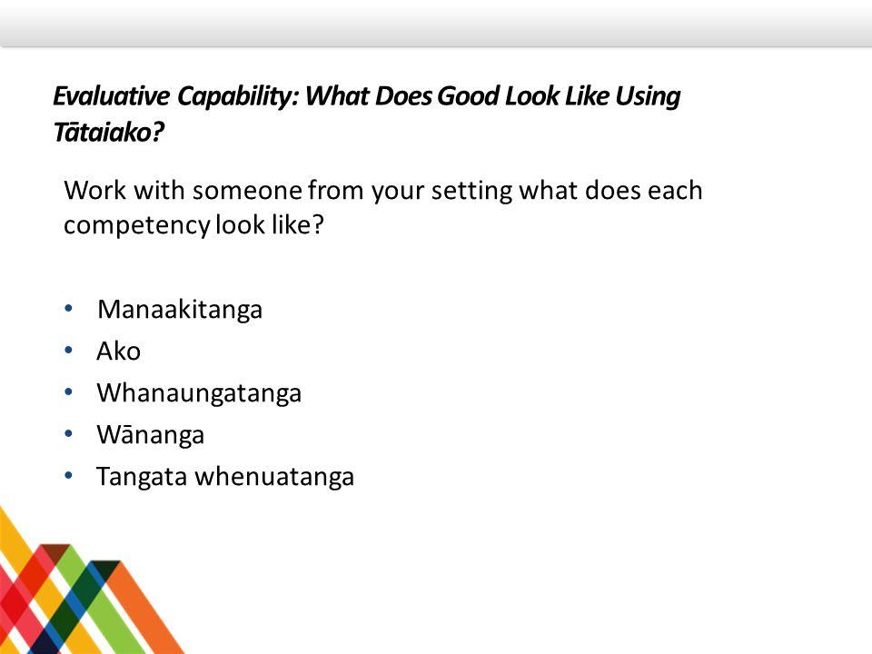 Evaluative Capability: What Does Good Look Like Using Tātaiako