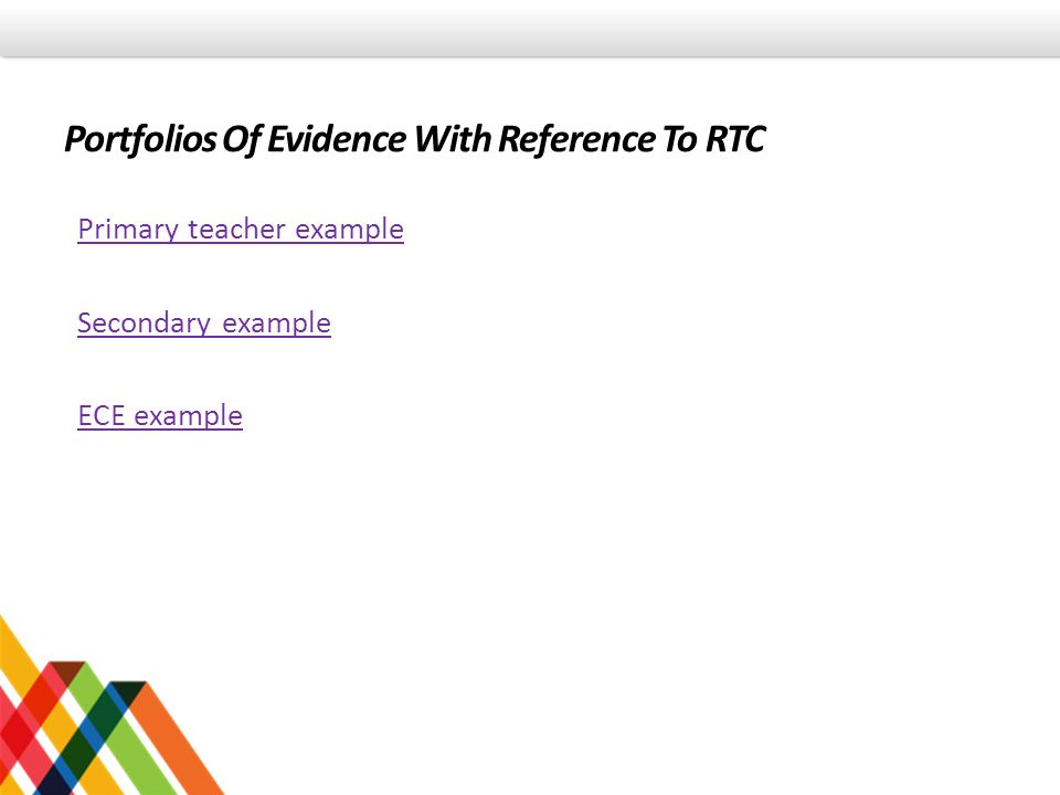 Portfolios Of Evidence With Reference To RTC