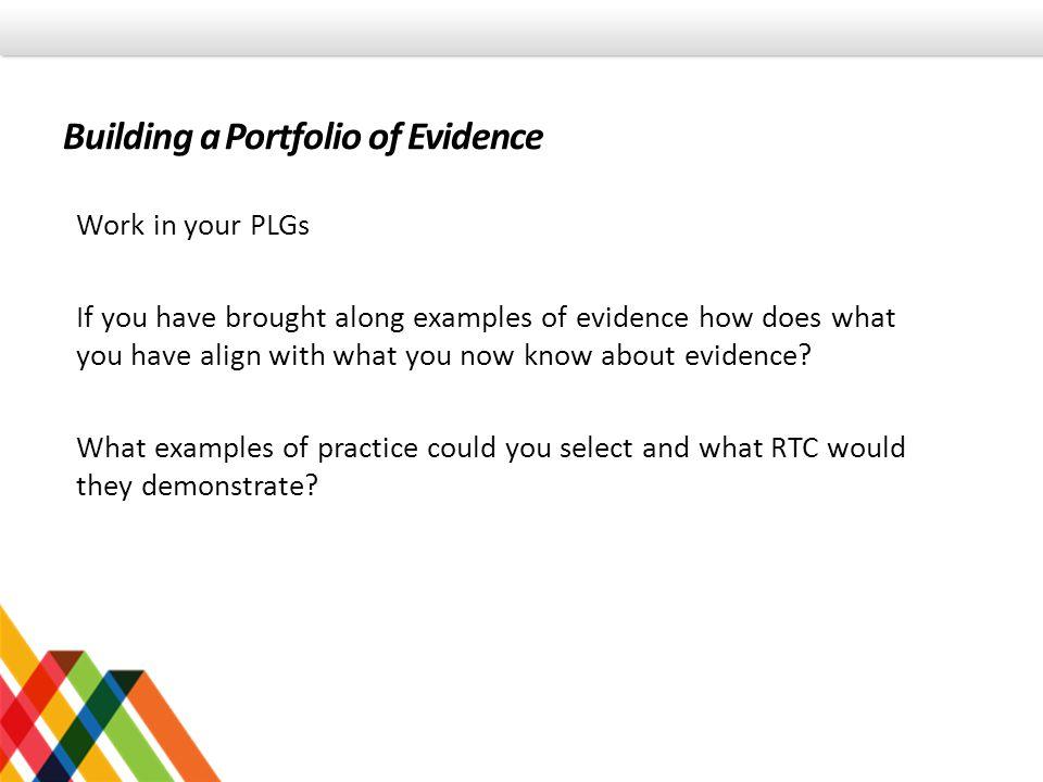 Building a Portfolio of Evidence
