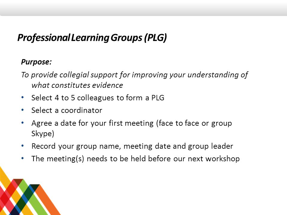 Professional Learning Groups (PLG)