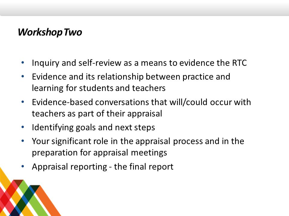 Workshop Two Inquiry and self-review as a means to evidence the RTC
