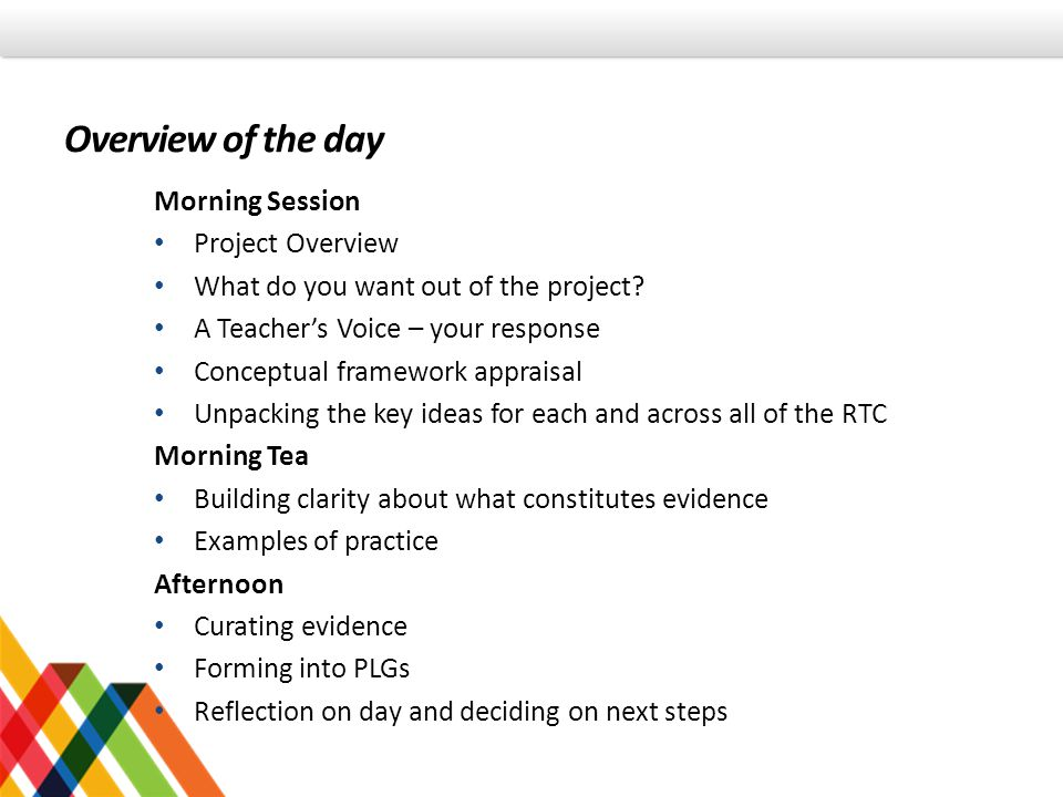 Overview of the day Morning Session Project Overview