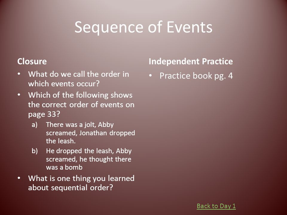 Sequence of Events Closure Independent Practice Practice book pg. 4