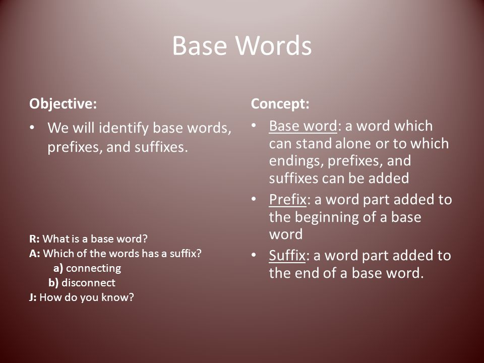 Base Words Objective: Concept:
