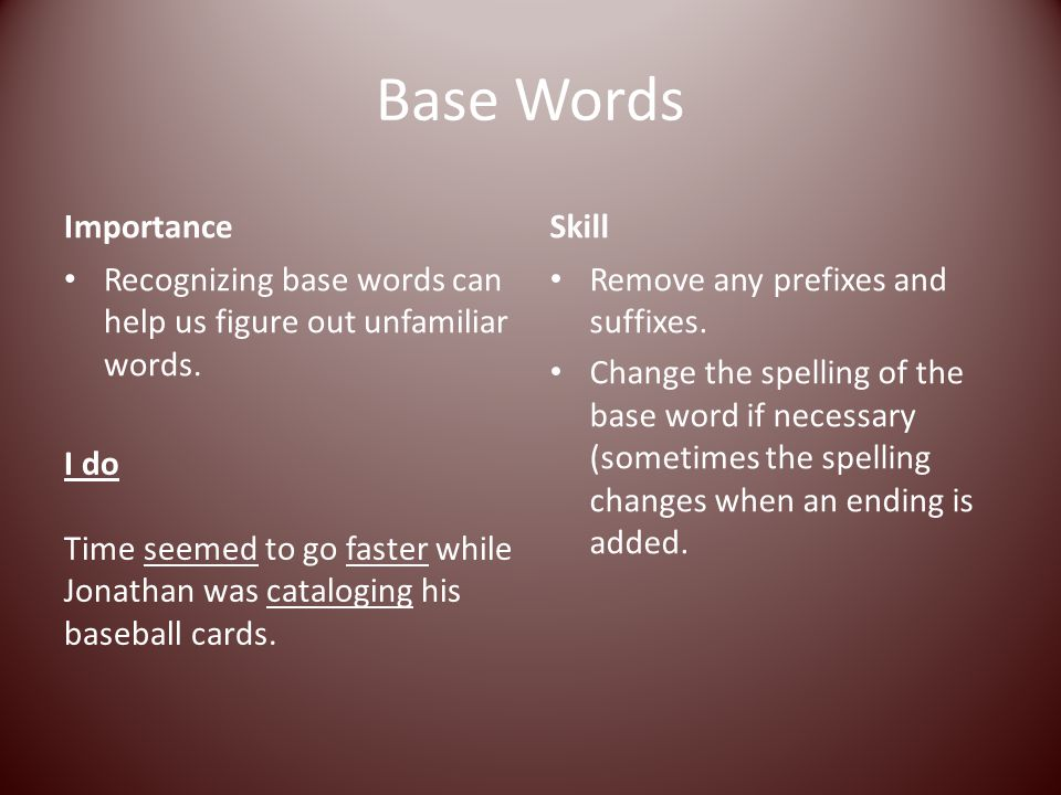 Base Words Importance Skill