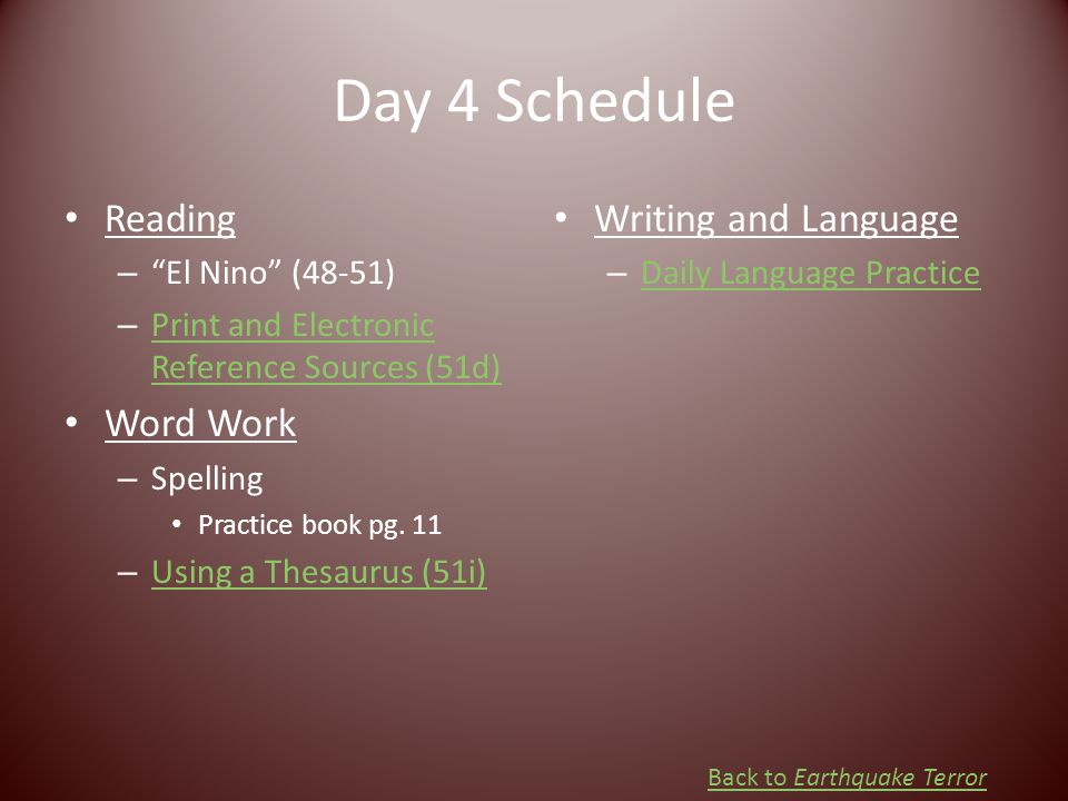 Day 4 Schedule Reading Word Work Writing and Language