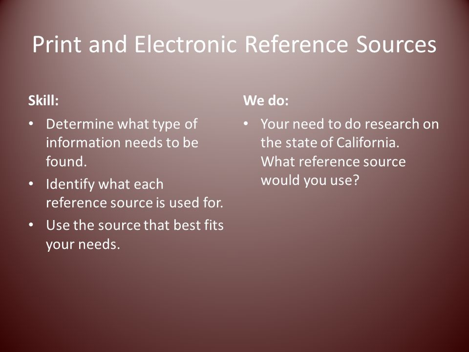 Print and Electronic Reference Sources