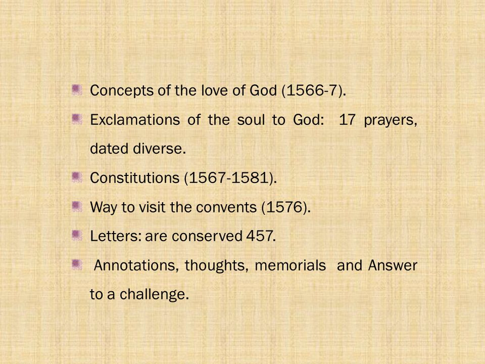 Concepts of the love of God (1566-7).