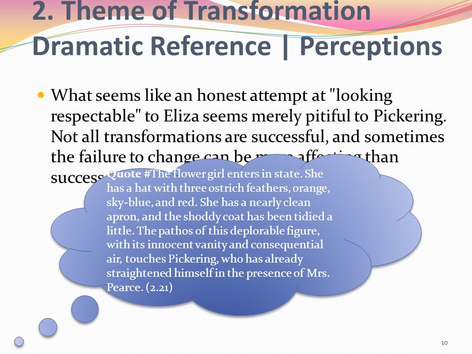2. Theme of Transformation Dramatic Reference | Perceptions