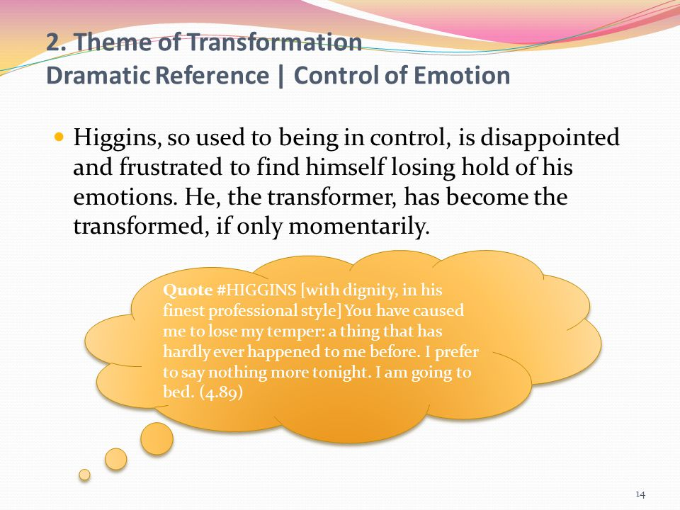 2. Theme of Transformation Dramatic Reference | Control of Emotion