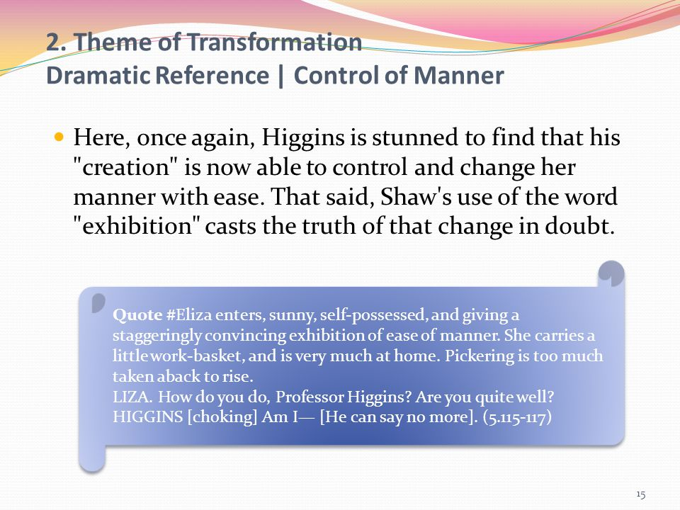 2. Theme of Transformation Dramatic Reference | Control of Manner