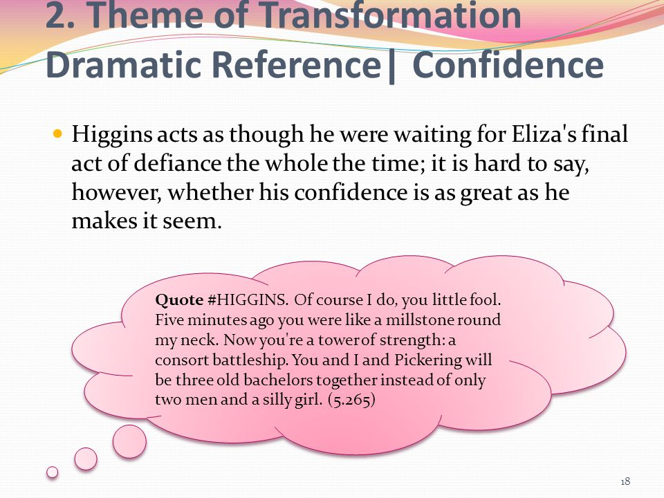 2. Theme of Transformation Dramatic Reference| Confidence