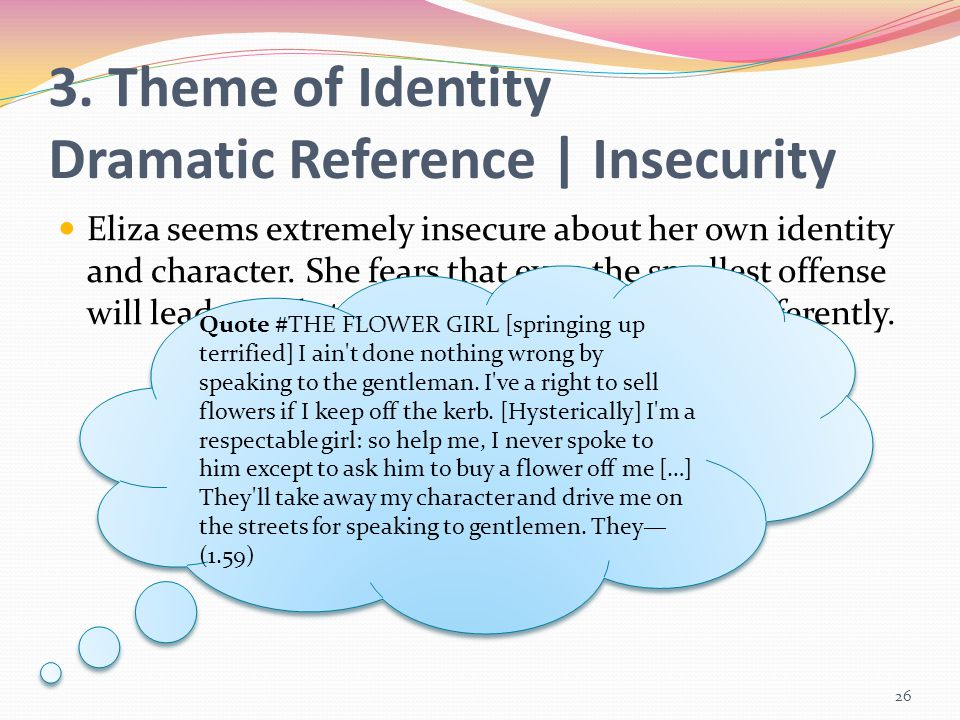3. Theme of Identity Dramatic Reference | Insecurity