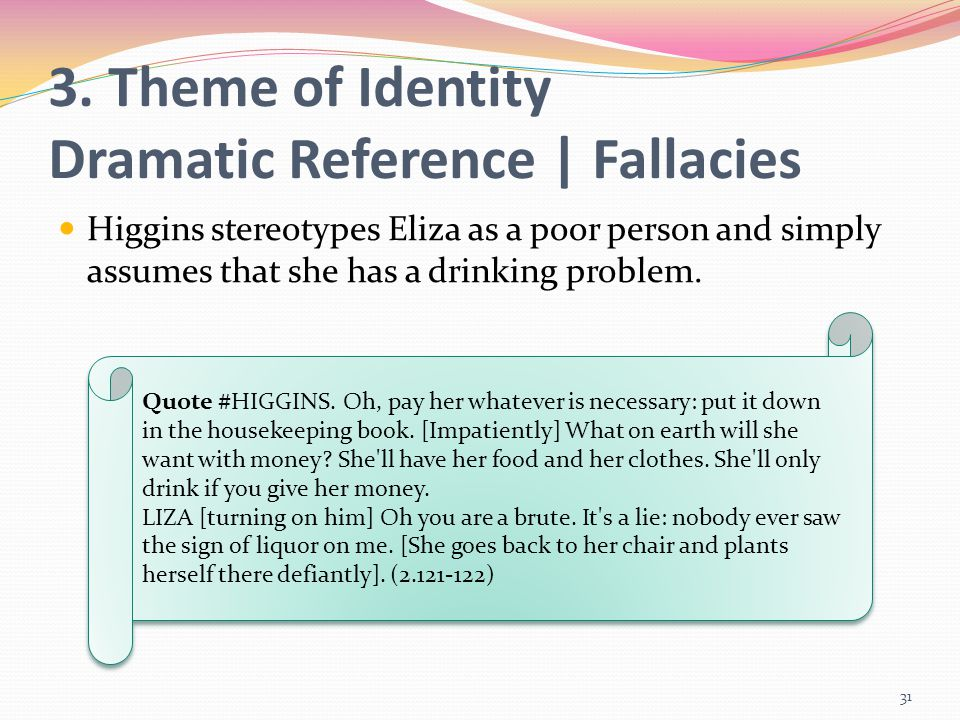 3. Theme of Identity Dramatic Reference | Fallacies