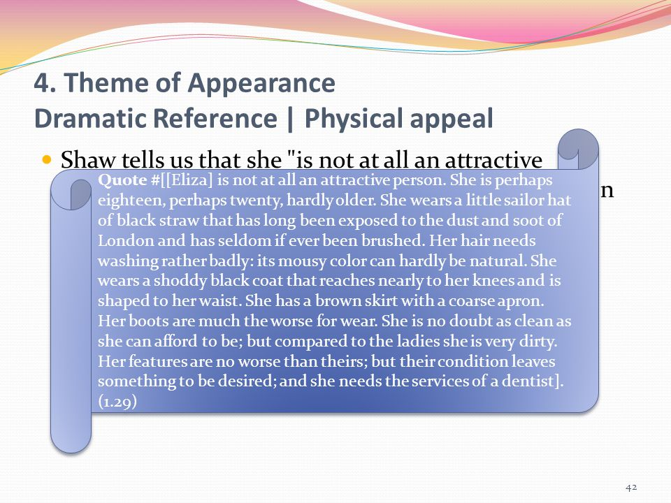 4. Theme of Appearance Dramatic Reference | Physical appeal