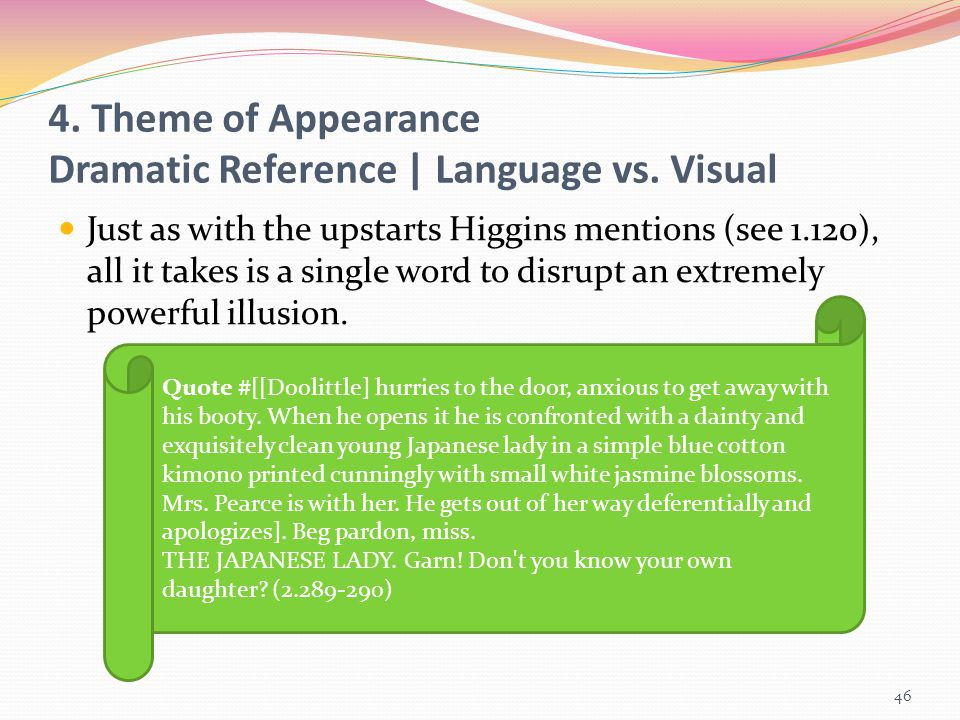 4. Theme of Appearance Dramatic Reference | Language vs. Visual