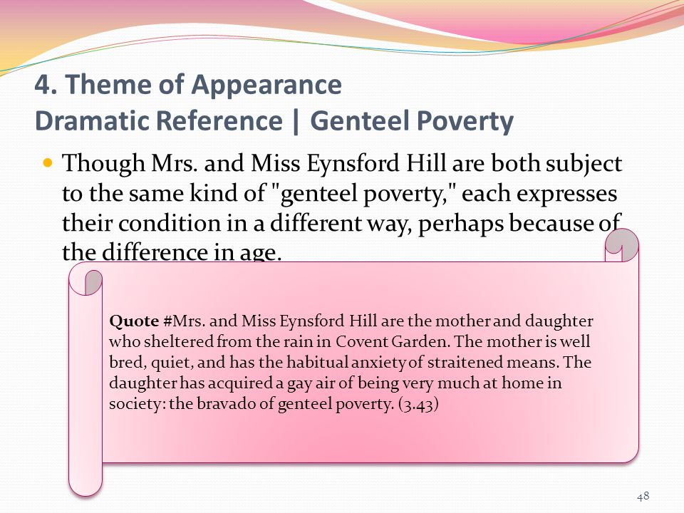 4. Theme of Appearance Dramatic Reference | Genteel Poverty