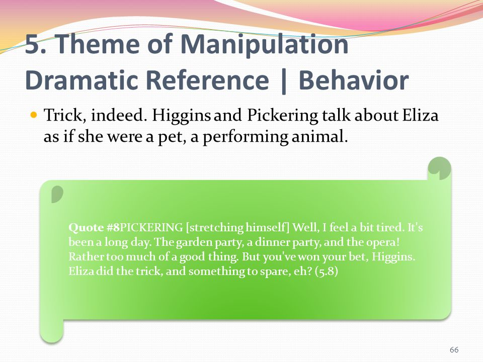 5. Theme of Manipulation Dramatic Reference | Behavior