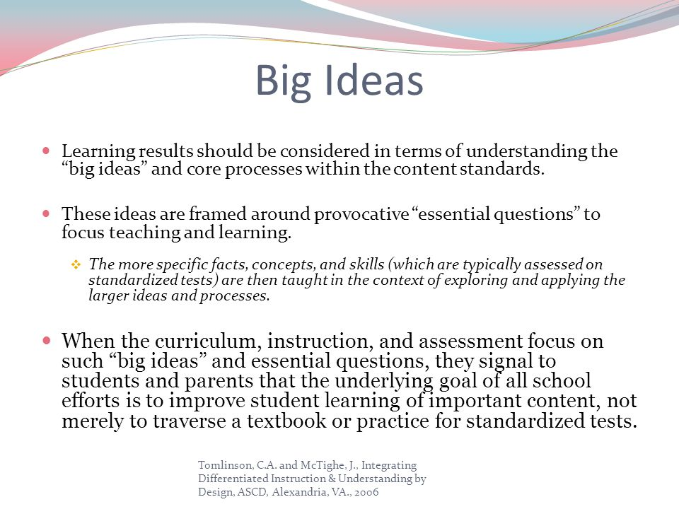 Big Ideas Learning results should be considered in terms of understanding the big ideas and core processes within the content standards.