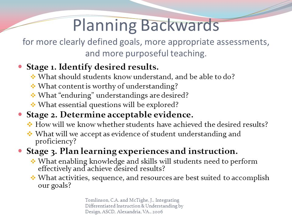 Planning Backwards for more clearly defined goals, more appropriate assessments, and more purposeful teaching.