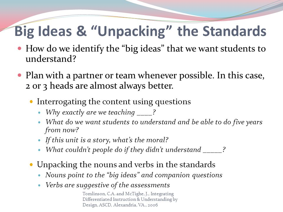 Big Ideas & Unpacking the Standards