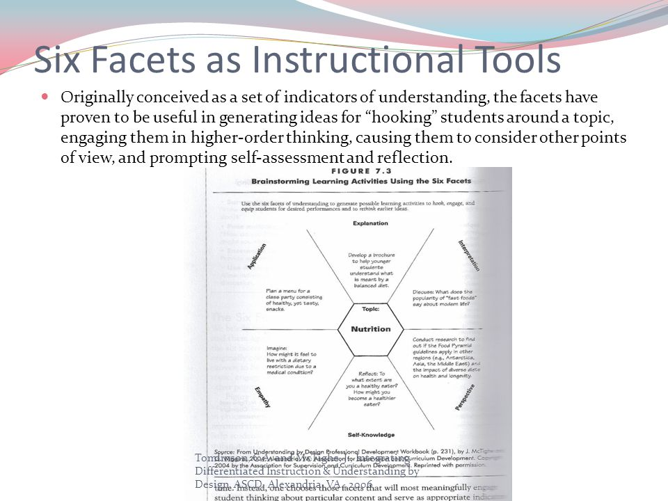 Six Facets as Instructional Tools