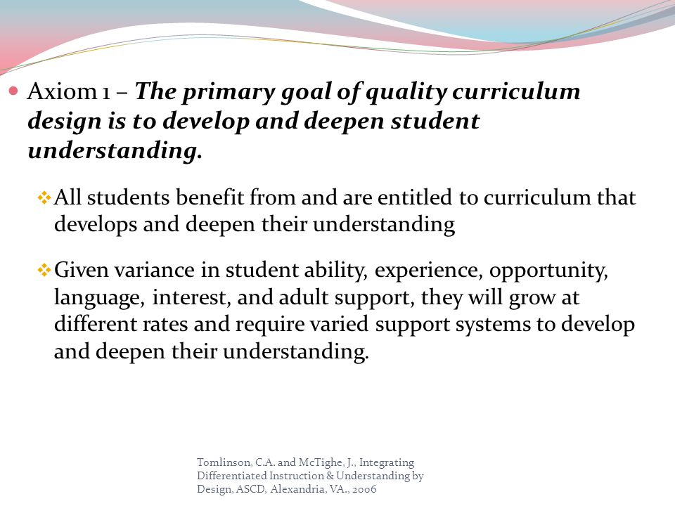 Axiom 1 – The primary goal of quality curriculum design is to develop and deepen student understanding.