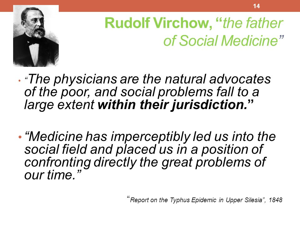 Rudolf Virchow, the father of Social Medicine
