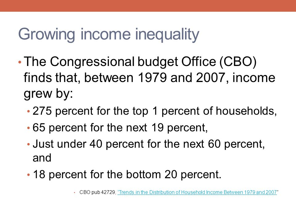 Growing income inequality