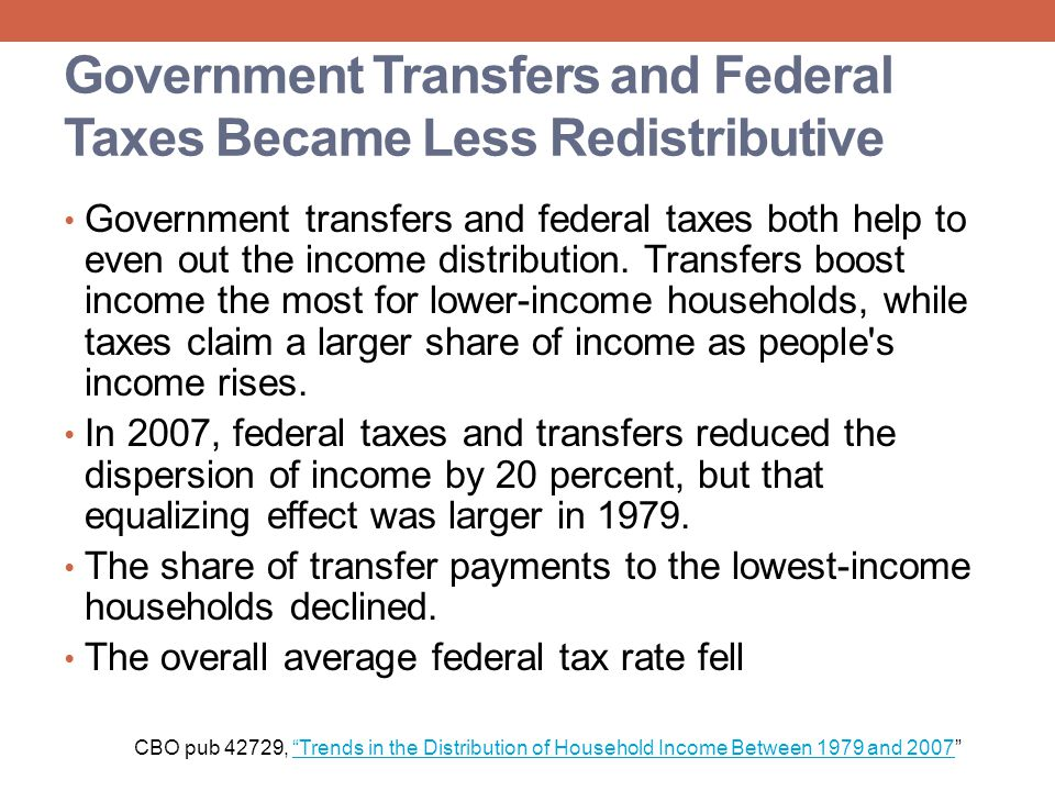 Government Transfers and Federal Taxes Became Less Redistributive
