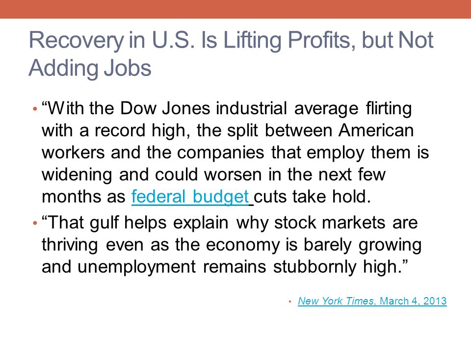 Recovery in U.S. Is Lifting Profits, but Not Adding Jobs