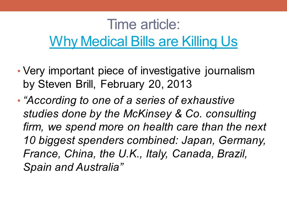 Time article: Why Medical Bills are Killing Us