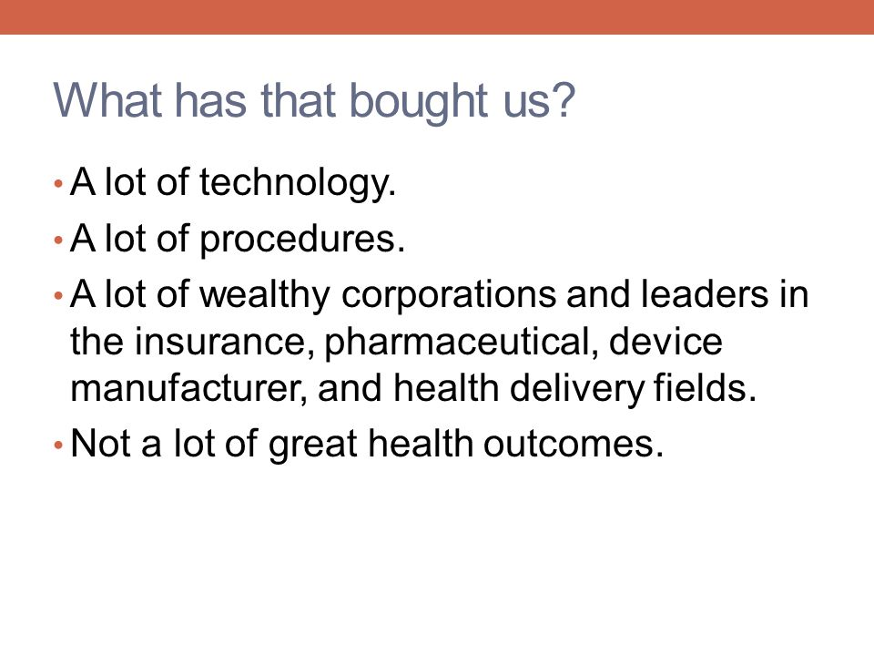 What has that bought us A lot of technology. A lot of procedures.