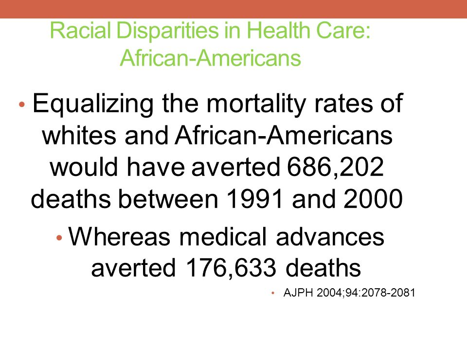 Racial Disparities in Health Care: African-Americans