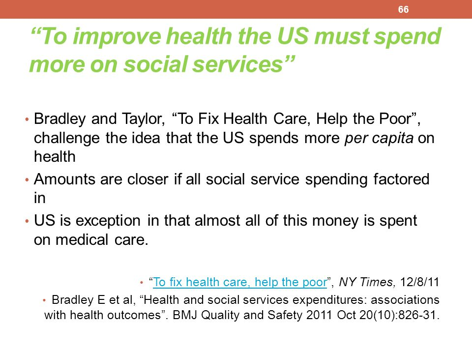To improve health the US must spend more on social services