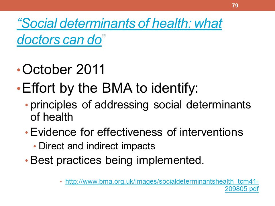 Social determinants of health: what doctors can do