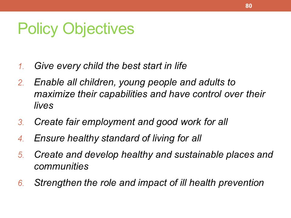 Policy Objectives Give every child the best start in life