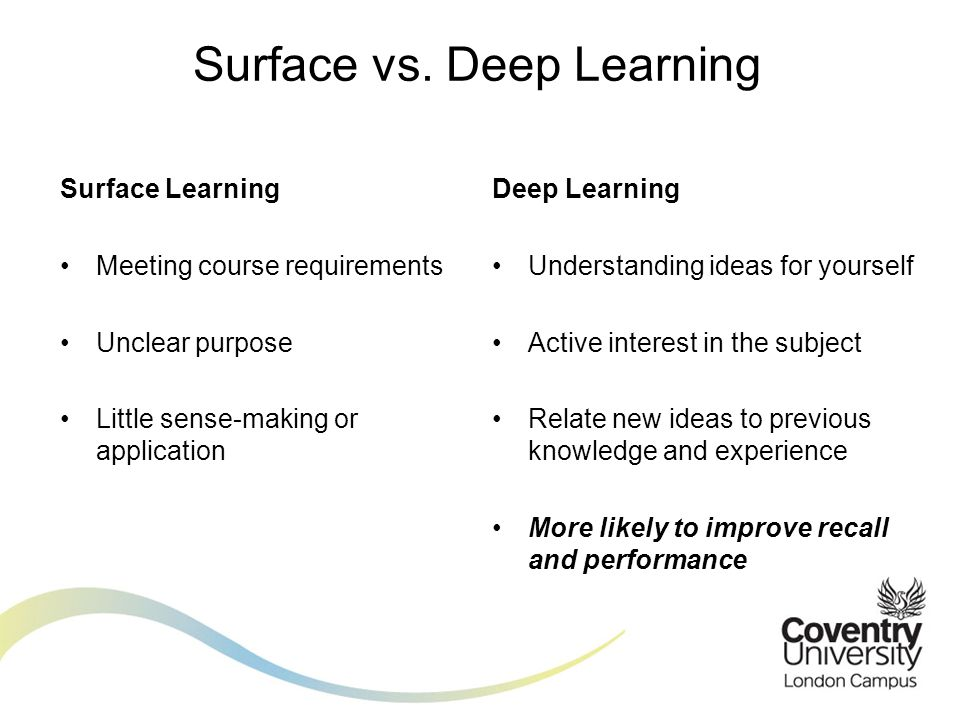 Surface vs. Deep Learning
