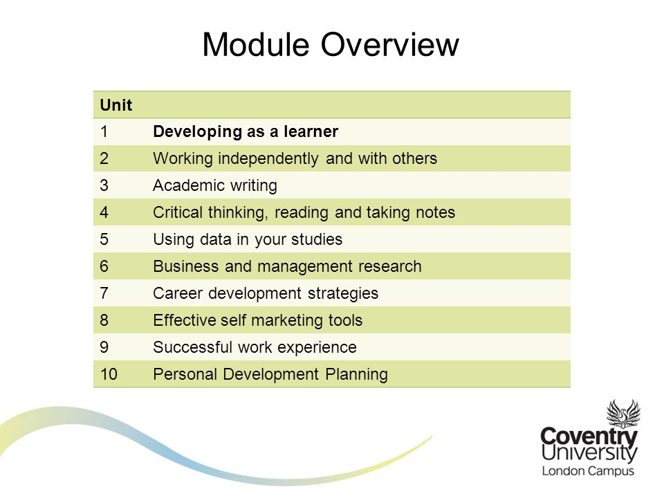 Module Overview Unit. 1. Developing as a learner. 2. Working independently and with others. 3.