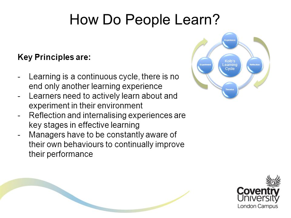 How Do People Learn Kolb's Learning Cycle. Experience. Reflection. Theorise. Experiment. Key Principles are: