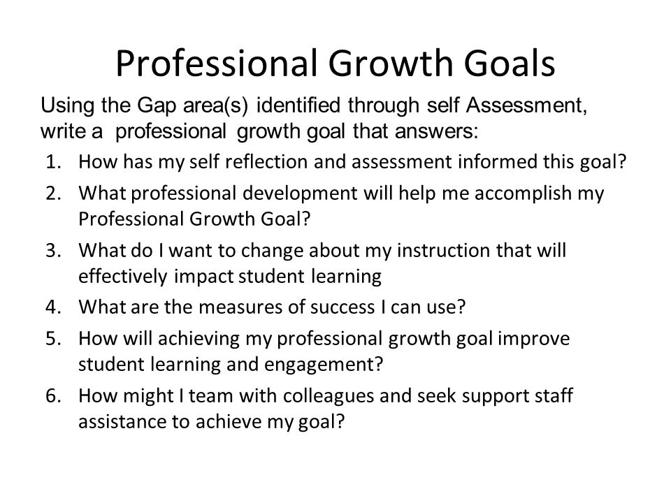 Professional Growth Goal is based on Self Assessment; However it must directly correlate with: