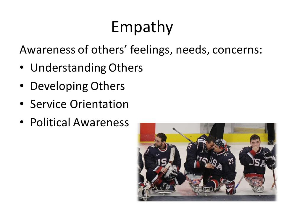 Empathy Awareness of others' feelings, needs, concerns: