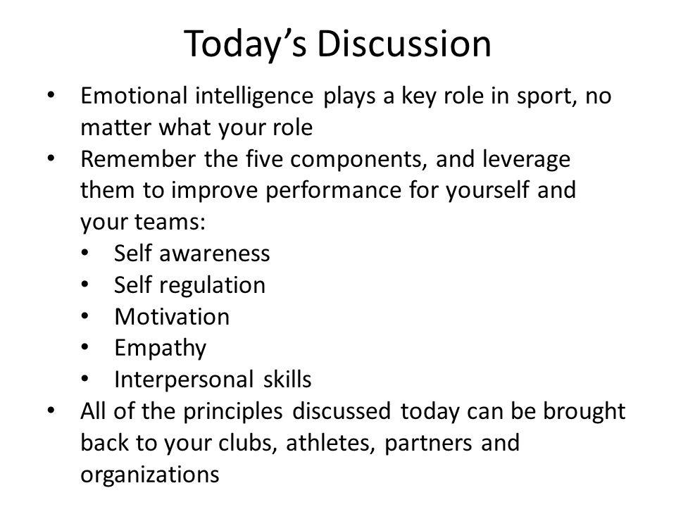 Today's Discussion Emotional intelligence plays a key role in sport, no matter what your role.