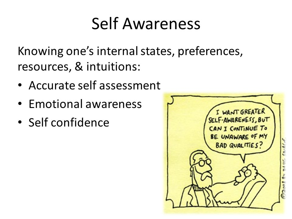 Self Awareness Knowing one's internal states, preferences, resources, & intuitions: Accurate self assessment.