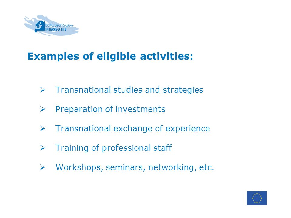 Examples of eligible activities: